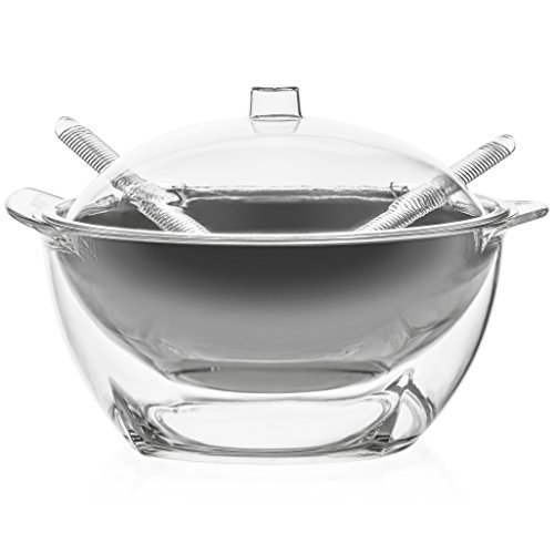 Cold Dip Server (Jumbl Stainless Steel Salad Bowl Serve-Cilled Set | Dome Lid & Serving Utensils)