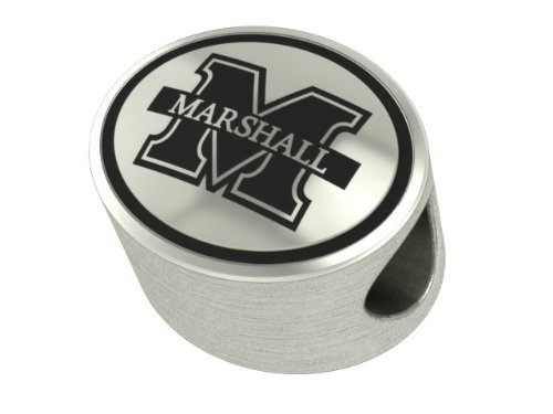 (College Jewelry Marshall University Thundering Herd Antiqued Bead Fits Most European Style)