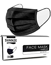 50PCS 3 ply Disposable face Shield Filter Protection Breathable dust Proof (Black)