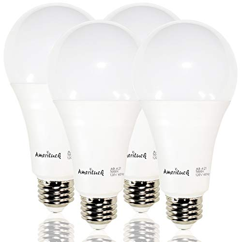 - AmeriLuck 150W Equivalent A21 LED Light Bulb, 2200Lumens 20W, 5000K Daylight (4 Pack)