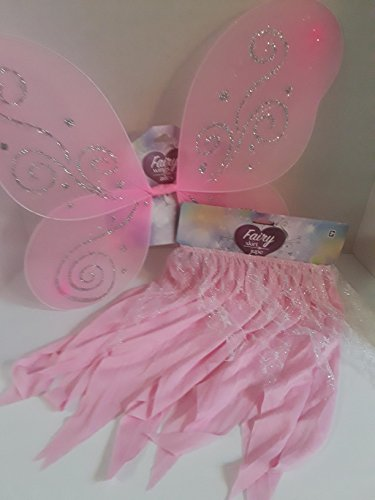 Homemade Halloween Butterfly Costumes (HALLOWEEN COSTUME JUST PRETEND BUTTERFLY WINGS WITH MATCHING SKIRT 2 PIECE SET BEAUTIFUL PINK W/ SILVER GLITTER SPARKLES)