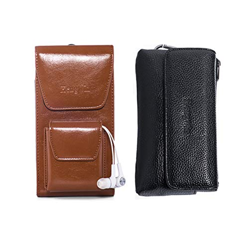 Hengwin Horizontal Cellphone Holster Pouch Vertical Smartphone Holster Case Belt Clip Leather Phone Pocket Magnetic Closure Men Bag with Belt Loop for iPhone XR XS Max 8 7 6s Plus - 2 Pack (Brown)