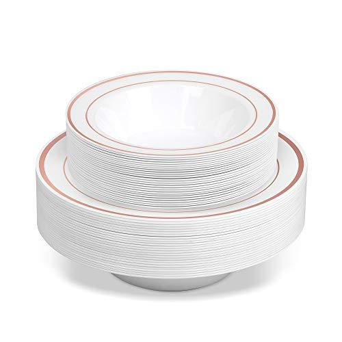 50 Disposable White Rose Gold Rimmed Heavy Duty Plastic Bowls | 25 14 oz. Soup Bowls and 25 6 oz. Dessert/Appetizer Bowls | Premium Combo Disposable Dinnerware Set | Great for Parties