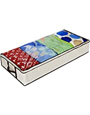 Ziz Home Zippered Under Bed Storage Containers Bag | Soft Breathable Anti-mold Fabric | Used for Underbed Clothes Storage Linen Storage Blanket Storage Sweater Storage Duvet Storage Bins Clear Window