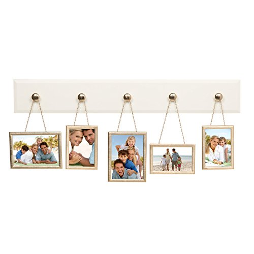 Metal Photo Plaque (Hanging Picture Frame Set, Wood Plaque with 5 Hanging Metal Picture Frames, 4x6 and 5x7 Openings, Soft White and Gold)