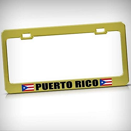 SDGlicenseplateframeIUY Puerto Rico Rican Flag Gold Tag Holder License Plate Frame Decorative Border - Novelty Plate, Sign for Home Garage Office Decor