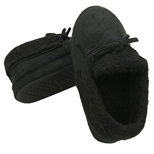 Women's Slipper Black Scuff Home Slippers Winter Fleece Warm House Bowknot Indoor Cute Long BfWx4wq
