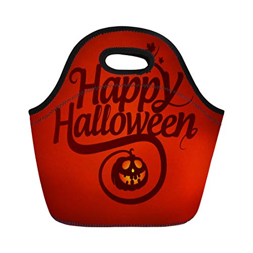 Semtomn Lunch Tote Bag Red Text Happy Halloween Calligraphic Pumpkin Graphic Fall Creepy Reusable Neoprene Insulated Thermal Outdoor Picnic Lunchbox for Men Women -