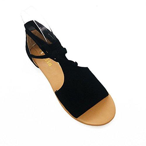 Sandales Plage Talon Bout Plat Dame Femmes Décontracté Noir Ouvert Cru Gladiateur Croix À Romain Cheville Chaussures Hlhn Sangle OO8Pxr