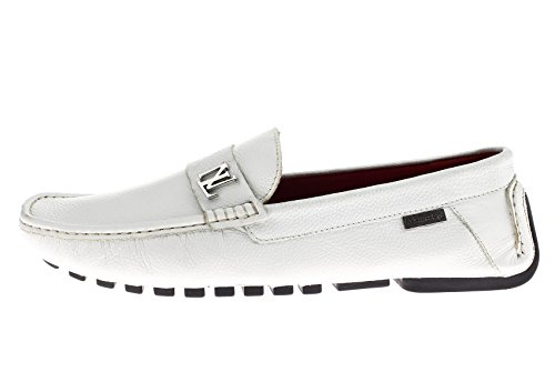 Natazzi Mens Air Grant Canoe Leather Shoes Original Slip-On Driving Loafer White EDjuV