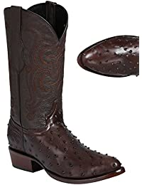 Men's El General Full Quill Ostrich Print Boots Round Toe Handcrafted