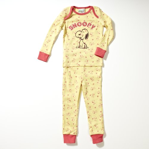 Franco Apparel Snoopy Baby-girls Infant Peanuts 1x1 Rib Tight Fitted Sleepwear