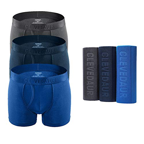 (Men's Underwear 3 Pack Ultra Soft Modal Mens Boxer Briefs Silky-Smooth Men Trunks Underwear with Fly Grey-Navy-Blue-M (4)