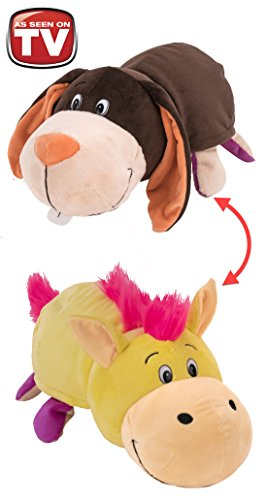 FlipaZoo 16 Plush 2 in 1 Pillow - Bunny Transforming to Yellow Horse (The Toy that Flips for You)