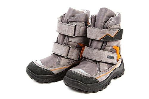 Däumling Kinder Warmfutter Stiefel Leder wasserdicht Grau Klettverschluss Gr. 25