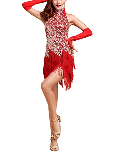 Whitewed Paisley Sequin Fringe Charleston Fancy Dress Costumes Adult Outfits , Red/gold, 4/6 -