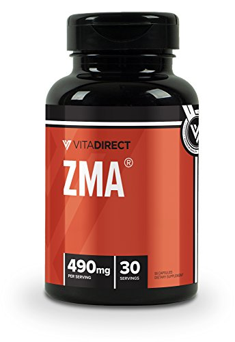 VitaDirect ZMA Supplement, 490mg per Serving, 90 Vegan Capsules, for Men and Women by VitaDirect