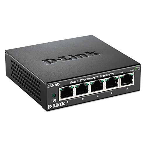 D-Link DES105 5-Port Fast Ethernet Switch, Unmanaged
