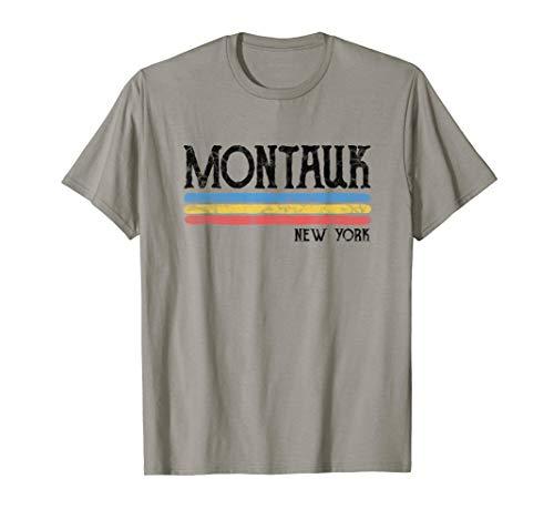 Montauk Apparel Blue (Vintage Montauk New York NY T-shirt Love Gift Souvenir)