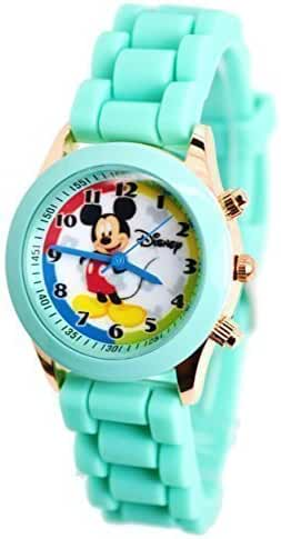 Disney Mickey Mouse Watch W/Fashion Buttons In Can Pen Case. Small Analog Display. Adjustable Band 9