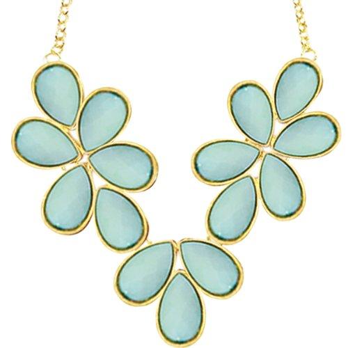 (Wrapables Floral Drops Bubble Bib Statement Necklace, Sky Blue)