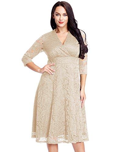 LookbookStore Women's Plus Size Apricot Lace Bridal Formal Skater Dress 12W