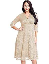 Long sleeve lace skater dress plus size