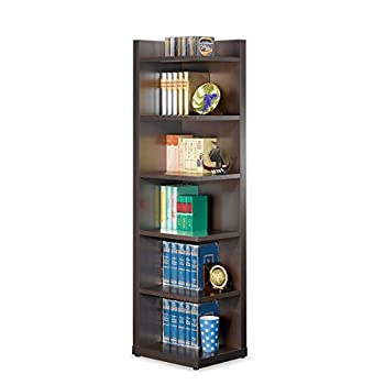 Image of Corner Bookcase with Open Side Cappuccino Home and Kitchen