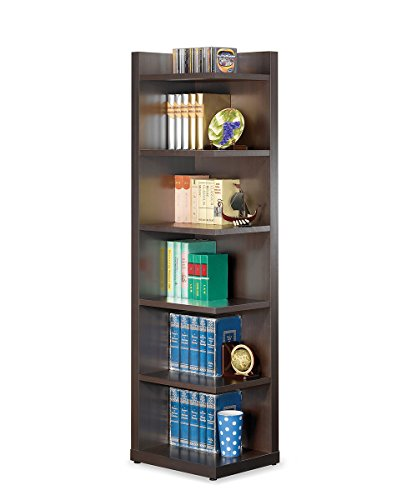 Corner Bookcase with Open Side Cappuccino