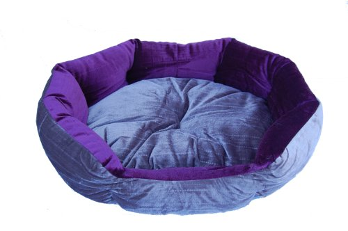 Anima Purple and Grey Velvet Clam Shell Bed, 28 by 24 by 9-Inch, Large, My Pet Supplies
