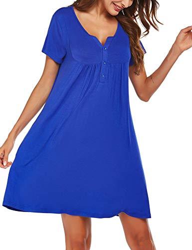 FINEJO Women's Loungewear Nightgown Short Sleeve Button Down Sleepwear with Pockets S-XXL