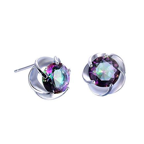 lver Mystic Rainbow Topaz Round Earrings Flower Shape Jewelry Gift Wat ()