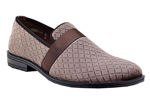 Shoe Club Slip Dress Loafers Smoking On Brown Vanucci Velvet 8 Night Slippers Franco Men's Embroidered pqUYIxg