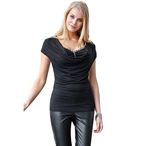 Ularma Blusa de las mujeres, camiseta Casual Tops de manga corta de verano negro