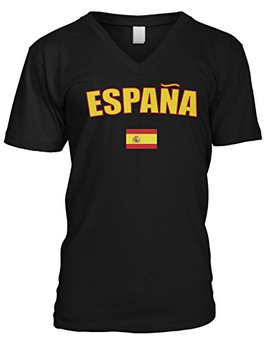 (Amdesco Men's Espana Country Flag, Spain V-Neck T-Shirt, Black XL)