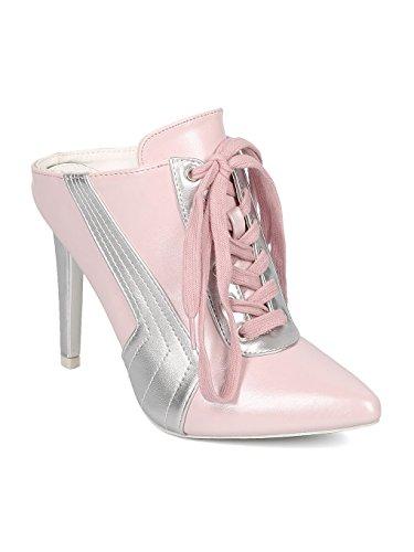 CAPE ROBBIN Women Leatherette Pointy Toe Sports Stripe Stiletto Mule HJ58 - Pink Leatherette (Size: ()