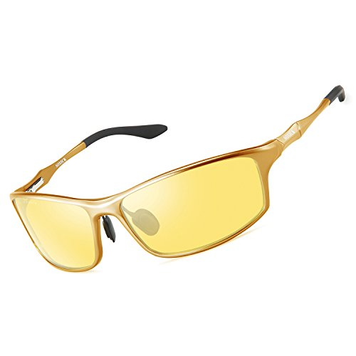 Night Driving HD Glasses,Polarized Fashion Adjustable Night Vision Glasses for Driving Gold Frame