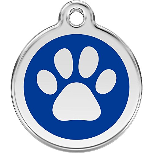 Red Dingo Personalized Paw Print Pet ID Dog Tag (Large Dark Blue)