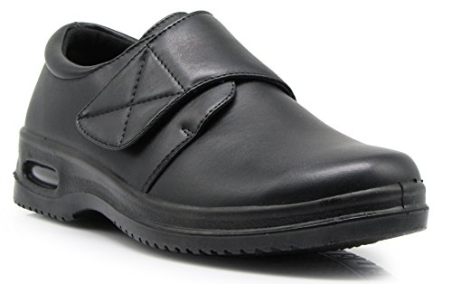 Romeo Slip - ACO5 Mens Black Oil Resistant Anti Slip Restaurant Fasten Secure Loafers Working Shoes With Air (12, Acco05)