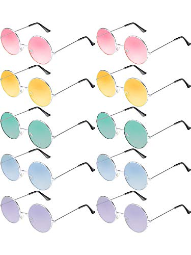 Blulu 10 Pairs Round Hippie Sunglasses John 60's Style Circle Colored Glasses (Silver -