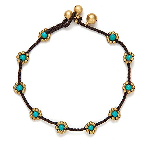 TOMLEE Vintage Handmade Stone Flower Charm Anklet for Women Wax Rope Simple Ankle Bracelet Foot Chain Jewelry - Charm Stone Flower