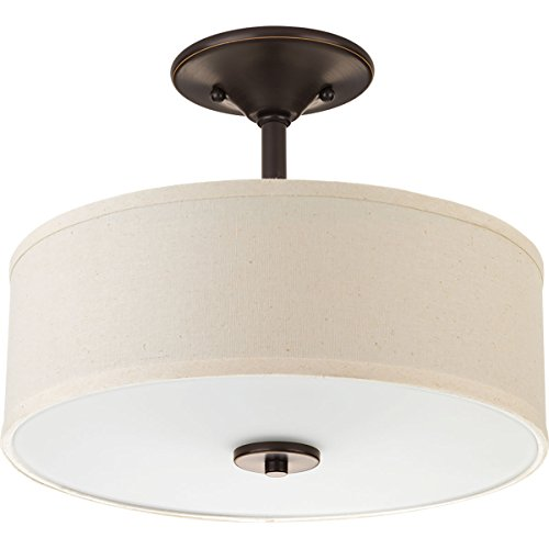 Progress Lighting P3712-20 Inspire Two-Light Semi-Flush, Antique Bronze