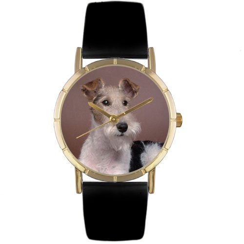 Whimsical Watches Kids' P0130039 Classic Fox Terrier Black Leather And Goldtone Photo Watch (Whimsical Jewelry Unisex)
