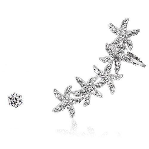 1 Pair Women Ear Stud, Gemstone Earring Starfish Pattern Ear Climbers, 18K White Gold Plated Stud Cuff Crawler Earrings (18k Carnelian Ring)