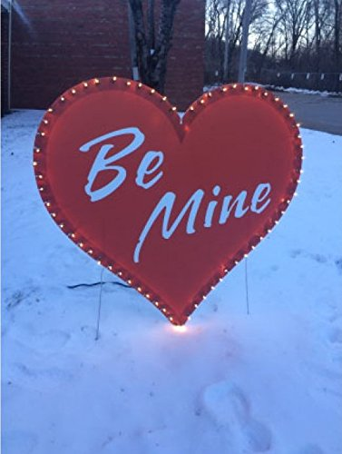 """VictoryStore Yard Sign Outdoor Lawn Decorations: Giant Lighted """"Be Mine"""" Valentine Heart Sign. w. 2/ez stakes"""
