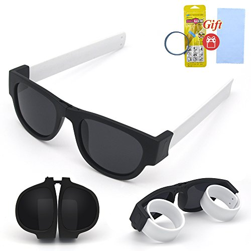 Foldable Sunglasses Polarized Lenses Folding Fashion Outdoors Sports Sunglasses Roll and Clip on Wrist for Adults and Kids