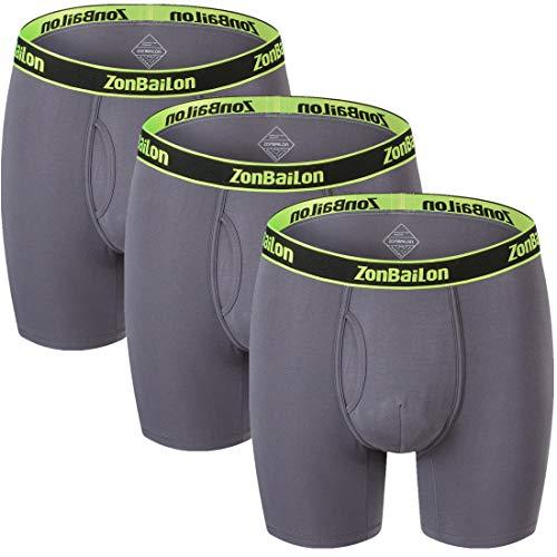 ZONBAILON Mens Underpant Boxer Briefs 3 Pack Breathable Athletic Underwear Boxers Grey M
