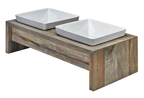 Dog Feeder: Artisan Double Wood Fossil, Medium: 22''x 10''x 6'' by Three Boys of Scottsdale Pet Boutique