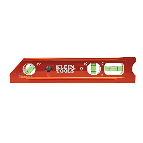 (Lighted Level, Magnetic Torpedo, 3 Vial, V-Groove and Magnet Track Klein Tools 935RBLT)