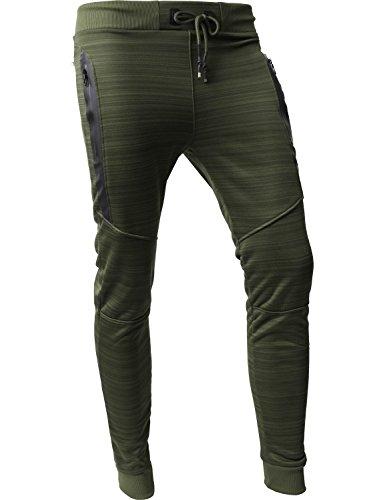 Hat and Beyond VW Mens Jogger Pants Biker Slim Fit Casual Fleece Active Elastic 1VWA5001-18 (Small, - Mens Fall Style